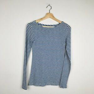 J Crew Striped Long Sleeve Navy Shirt Top XS